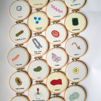 Any 5 Microbes cross stitch set -- instant collection of common germs, microbes for your wall