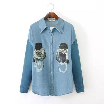 Women's Fashion Rinsed Denim Print Long Sleeve Denim Blouse Mosaic Cats Shirt Bottoming Shirt [4918987652]