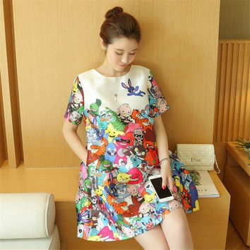 2016 summer new large size white cartoon printed round neck short sleeve maternity dress Loose and comfortable breathable  H