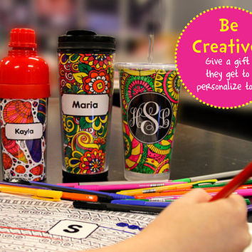 Personalized Coloring Tumbler, Water Bottle, Coffee Mug - Be Creative and add your own touch!