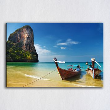 HDARTISAN Wall Art Picture Tropical Plyaj Lodki Thailand Landscape For Living Room Canvas Painting Home Decor no frame