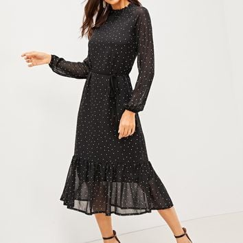 Semi-Sheer Polka Dot Tie Waist Pephem Dress