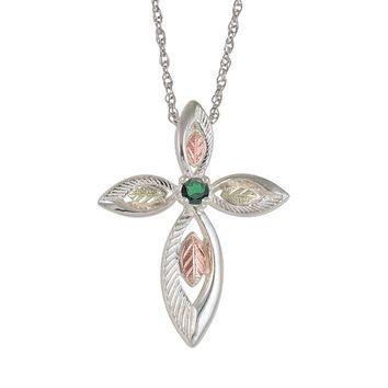 Black Hills Gold Tri-Tone Emerald Leaf Cross Pendant in Sterling Silver (Green)
