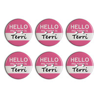 Terri Hello My Name Is Plastic Resin Button Set of 6