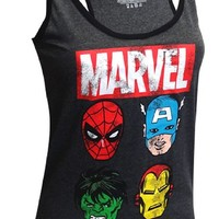 Marvel Comics Avengers Faces Distressed Racer Back Tank Top for women (Small)