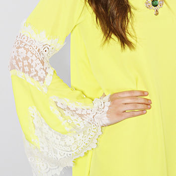 overnight sun-sation lace dress - yellow