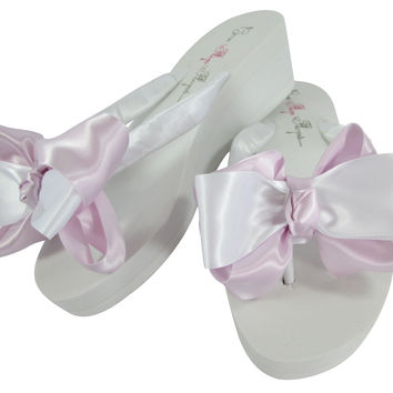 Wedge 2 inch Bride & Bridesmaid Flip Flops: Lavender/white