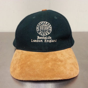 Vintage 90's Shakespeare's Globe Bankside London England Wool Velcro Dad Hat Leather Brim