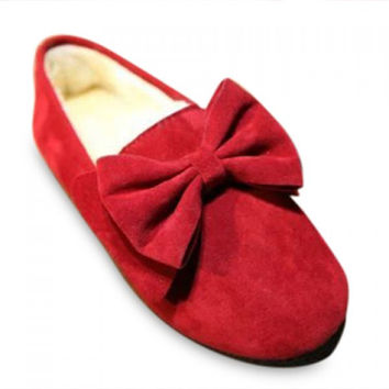 Ladylike Solid Color and Suede Design Flat Shoes For Women