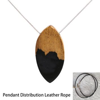 Blue Necklaces Pendants Bullet Wood Necklace Women Magical Design Deep Sea Blue Necklaces Trendy Jewelry Collares
