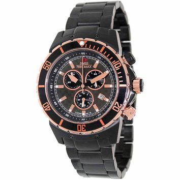Swiss Precimax SP13294 Men's Pursuit Pro Rose Gold Accent Grey Dial Chronograph Sport Watch