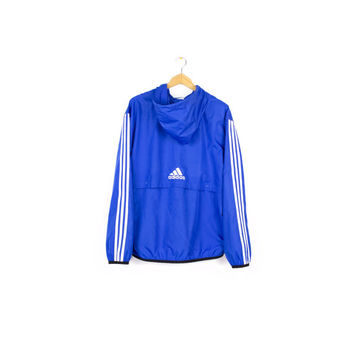 ADIDAS pullover windbreaker jacket / early 00's / storm fit / hood / logo / blue & white / M - L
