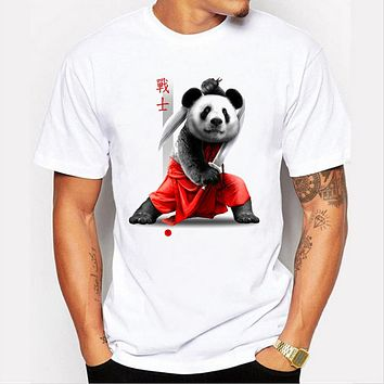 Summer Men Short Sleeve Double sword Warrior Cotton T-shirt Men Colorful Panda Tops
