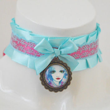 Lolita collar - Fairy portrait - ddlg cgl little satin princess choker with cameo pendant - kawaii cute blue and pink kittenplay necklace