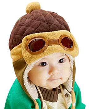 NIBOX Baby Boys Winter Warm Hats Beanie Pilot Aviator Crochet Earflap Flight Cap (Brown)