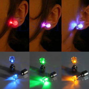 Fashion Light Up LED Bling 1Pair  Ear Studs Earrings Accessories for Dance Party