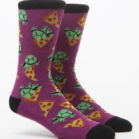 """New"" Socks Turtles And Pizza Crew Socks - Mens Socks - Purple - One"