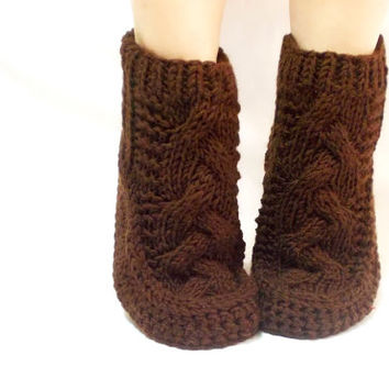 Brown Cable Knit Socks, House booties, Gift Socks, Long Slippers