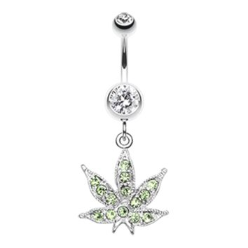 Marijuana Leaf Sparkle Belly Button Ring Pot Leaf Navel Ring Pot Leaf Canibus Body Jewelry