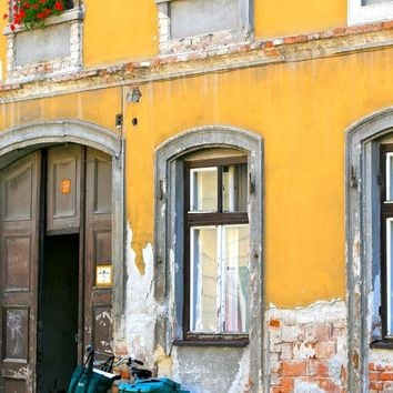 Rustic European Decor - Hungary Photograph - Turquoise Bicycle Print - Yellow Wall Art - Hungarian Windows Doors Photography Geraniums