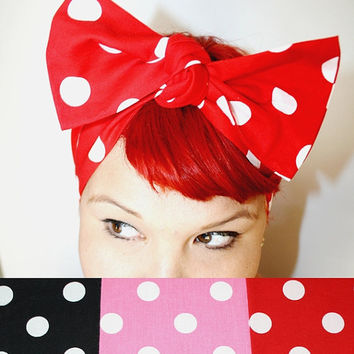 Bow hair tie Custom Color Polka Dots, Red, Black, Pink, Retro, Rockabilly, Vintage Inspired
