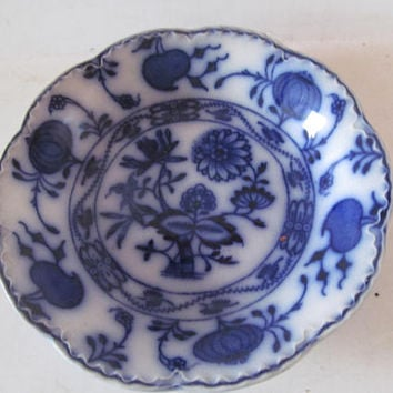Antique Blue Onion Bowl Flow Blue and White Bowl Blue and White Decor Blue Onion Pattern China Holland Johnson Brothers England Johnson bros