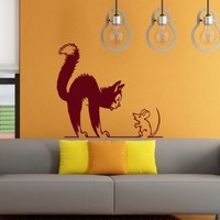 Wall Vinyl Sticker Decal Cat and Mouse Nursery Room Art Design Nice Picture Decor Hall Wall Chu1275