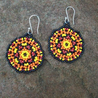 Huichol Lace Beaded Mandala Earrings Black by RaptorRidgeOriginals