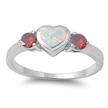 Sterling Silver Bezel Heart CZ Garnet CZ 6MM White Lab Opal Ring