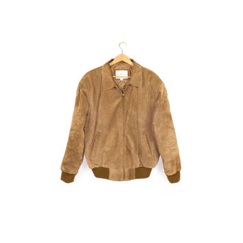 vintage brown suede leather bomber jacket - mens medium - large
