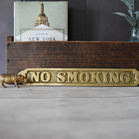 No Smoking Sign/ Brass No Smoking Sign/ No smoking sign vintage/ Brass Sign/ Brass Wall Plaque/ No Smoking Metal Sign/ Vintage Sign