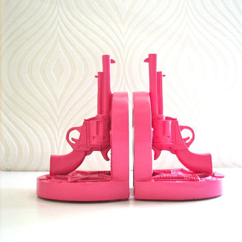 Gun Bookends in bubble gum pink Western Theme Set by mahzerandvee