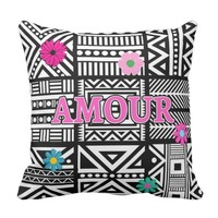 Intricate Geometric Pattern with AMOUR Throw Pillow