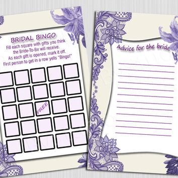 Advice for the Bride Bridal Shower Game Bingo Bridal Games Printable DIY Lace Purple Lily Instant Download Digital file