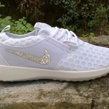 blinged nike roshe run sneakers athletic sport shoes juvenate womens custom with swarovski crystal white color