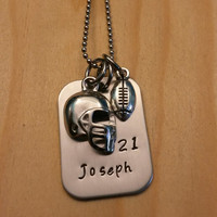 Hand Stamped Necklace Personalized Jewelry Football Necklace