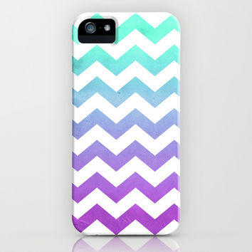 Purple Mint Aqua Ombre Chevron Pattern iPhone & iPod Case by hyakume