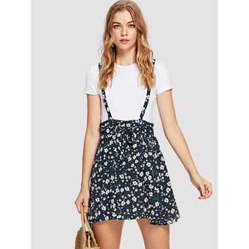 Flower Skirt With Suspenders