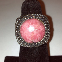 Rhodonite Sterling Ring Noa Zuman Sz 6 Pink Stone 925 Silver Vintage Jewelry Birthday Anniversary Christmas Holiday Gift Cocktail Signet