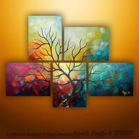 Abstract Modern Landscape Tree Painting Art by Gabriela 44x32