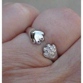 Luxinelle Cat or Dog Lover Paw Print Ring - 18K White Gold by Luxinelle®Jewelry