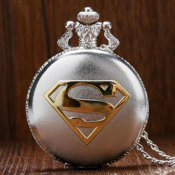 Hot Sale Fashion Silver Superman Theme Quartz Pocket Watch Round Blue Dial with Necklace Chain Gift