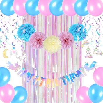 Unicorn Birthday Party Decor Girl Rainbow Happy Birthday Banner Swirl Curtain Balloons Iridescent Shine Party Supplies New