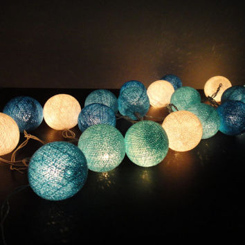 Battery Powered LED Bulbs 20 Mixed Blue Sky Tone Cotton Balls Fairy String Lights Party Patio Wedding Floor Table Hanging Gift Home Decor 4m