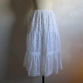 Vintage 1970s White Ruffle Half Slip Edward Saykaly Floral Cut Out Dot Lace 70s Undergarment Lrg