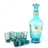 Mad Men Era Decanter with Glasses Aqua Blue and Gold  Ships Free to USA
