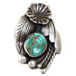Navajo Ring Appliqué Sterling Silver Turquoise Vintage