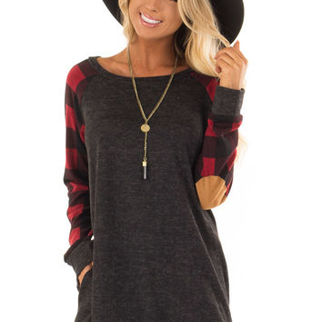 Charcoal Sweater with Plaid Raglan Sleeves and Pockets