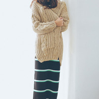 Slouchy Cable Knit Drop Shoulder Cardigan for Women