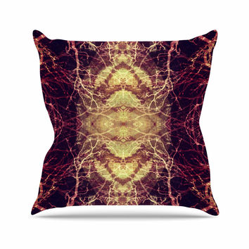 """Pia Schneider """"Burning Roots IV"""" Maroon Celestial Outdoor Throw Pillow"""
